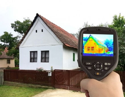 A heat scanner used to identify heat loss through lofts, walls and windows.